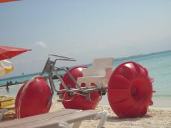 Beach tricycle with 3 big wheels at Playa Norte Isla Mujeres.jpg